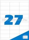 Etikett címke A4 (70 x 30 mm) 27 db etikett címke/ív  100 db ív/csomag